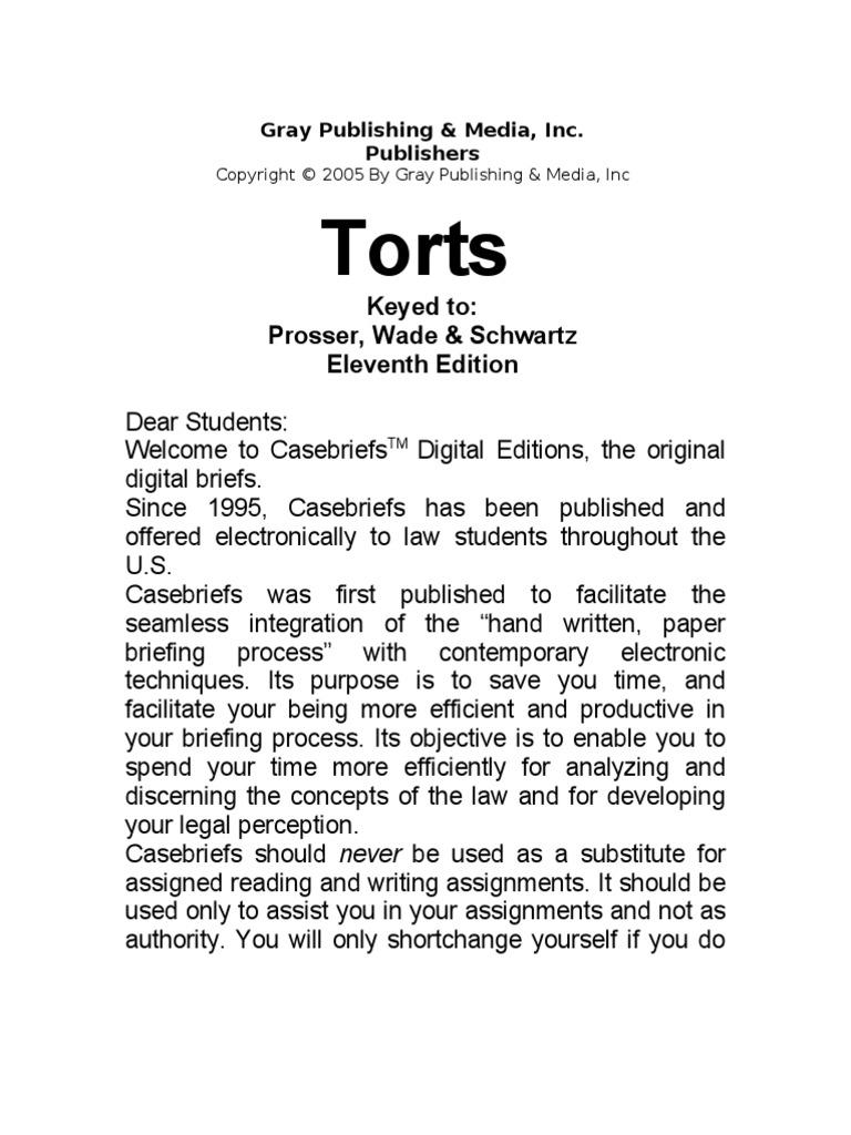 Torts Digital Case Briefs 1999 Mercy 320e Front Fuse Box Diagram
