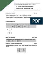 Linear Algebra Spring 2 2012 Final Exam