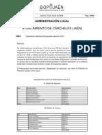Presupuesto Ayuntamiento Carcheles 2012