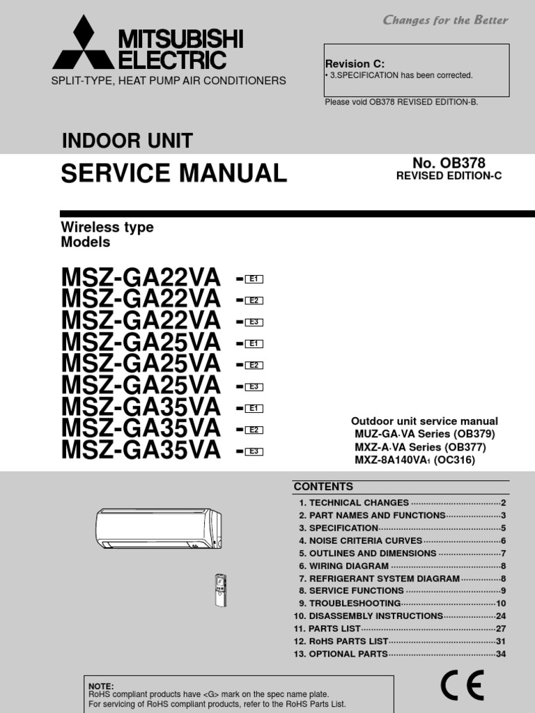 Service functions 8 | mitsubishi electric mitsubishi split-type.