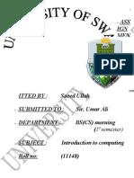 Saeed Ullah Assignment Introduction to Computing