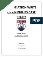 Negotiation Write Up on Philips Case Study