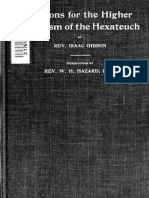 Reasons for the Higher Criticism of the Hexateuch Gibson, Isaac, 1828-1906