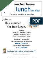 Summer Food Program Flyer 2012
