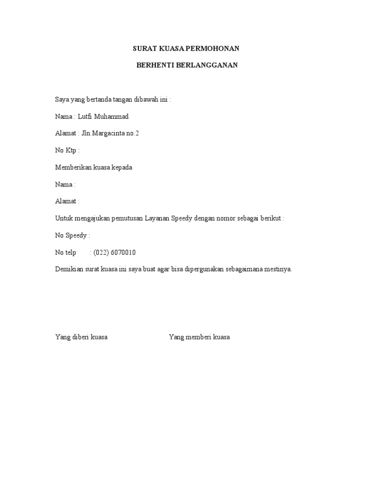 Surat Kuasa Telkom