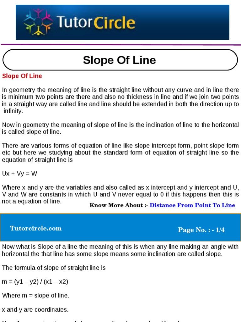 Slope Of Line Slope Line Geometry