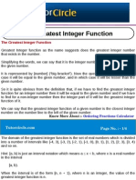The Greatest Integer Function