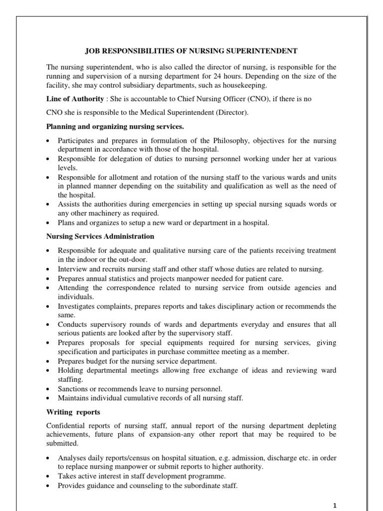 Job Responsibilities Of Nursing Superintendent | Nursing | Hospital