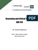 Critical Thinking SAH 103 for Final