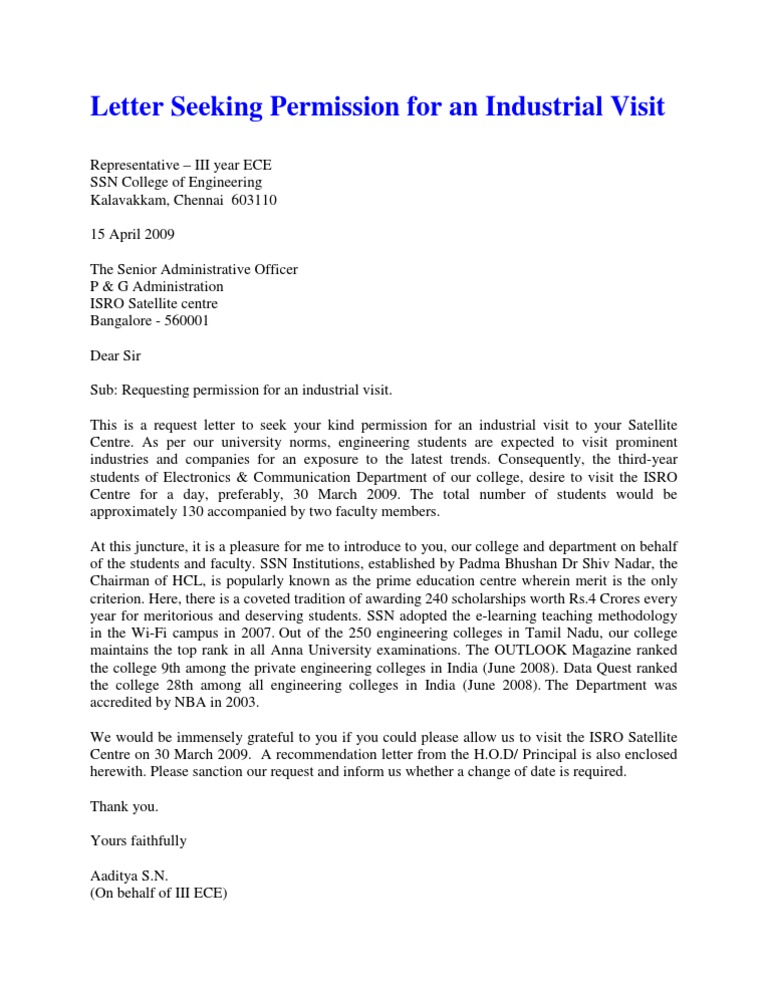 Industrial visit letter yadclub Choice Image