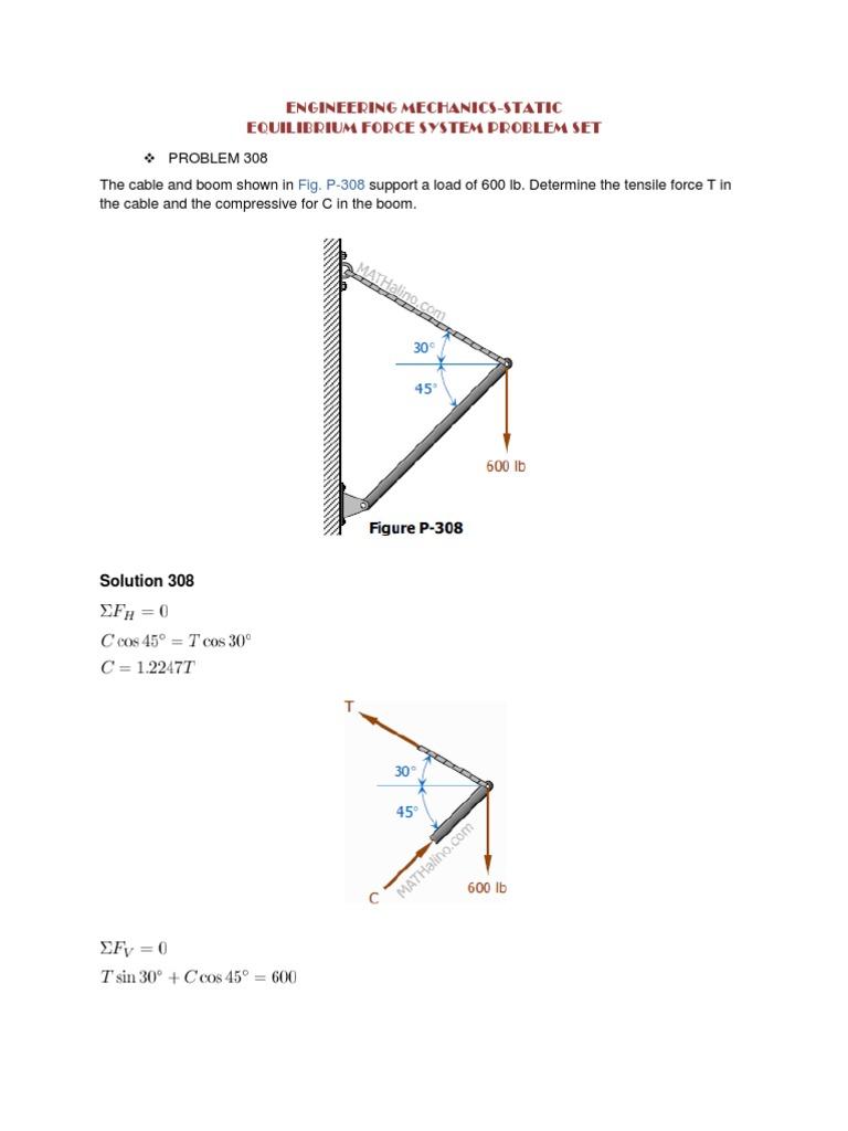 engineering mechanics solution equilibrium prob 308 361 truss