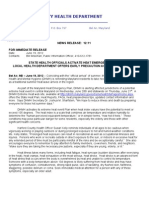 News Release StateEmergencyHeatPlan #12-11