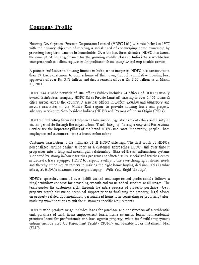 Company Profile - HDFC LTD | Board Of Directors | United States