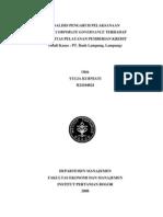 ANALISIS PENGARUH PELAKSANAAN GOOD CORPORATE GOVERNANCE TERHADAP KUALITAS PELAYANAN PEMBERIAN KREDIT (STUDI KASUS
