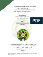 PENGUKURAN PERFORMANSI KUALITAS PELAYANAN KARTU GSM MENTARI DENGAN ANALITICAL HIERARCHY PROCESS (AHP) DI PT. INDOSAT REGIONAL OFFICE