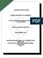 Primer Informe Economia Ok Economia gropecuaria trabajo universidad nacional sede medellin