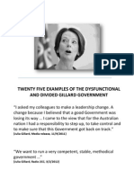 Twenty Five examples of the dysfunctional and divided Gillard Government.