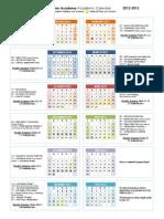 PTCA Academic Calendar 2012 2013