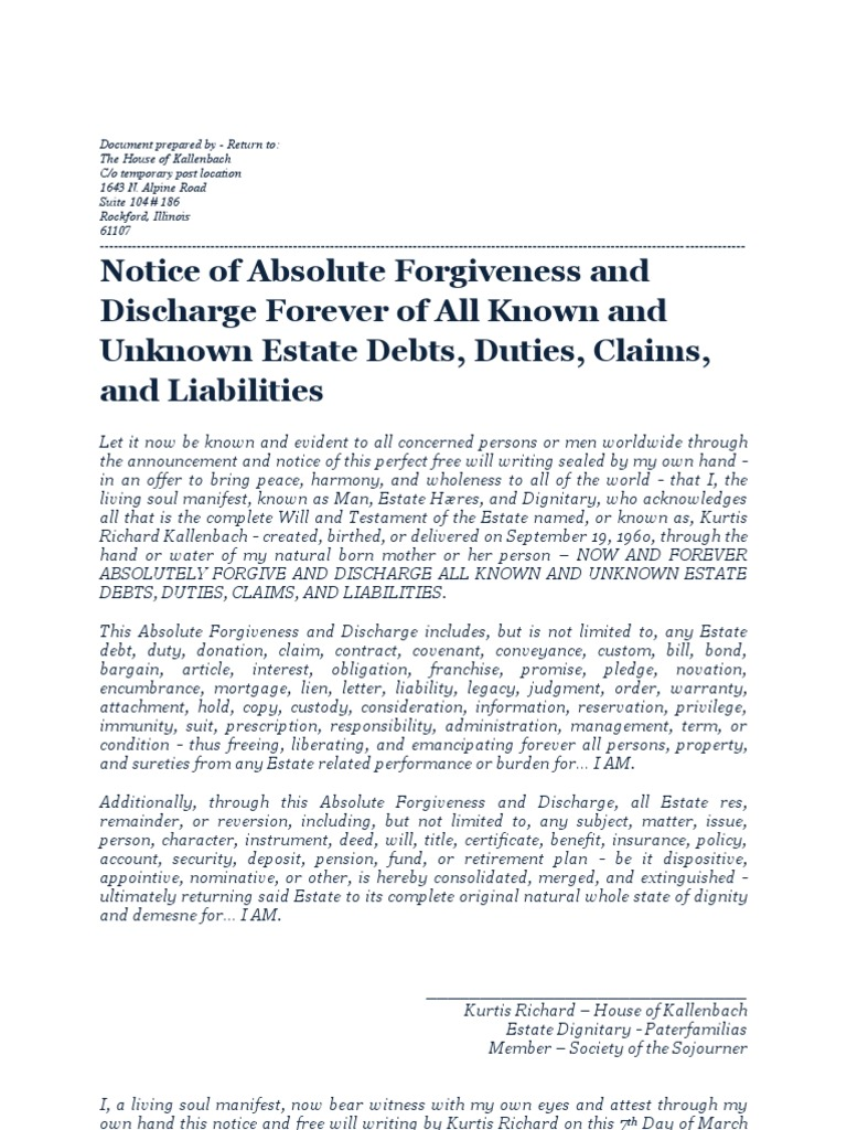 forgiveness and discharge estate dignitary kurtis richard blue forgiveness and discharge estate dignitary kurtis richard 14 blue estate law