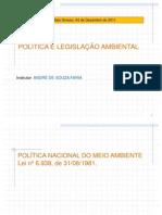 POLITICA E LEGISLAÇÃO AMBIENTAL - AULA ANDRÉ