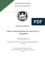 rute isabel de sousa 2011_conhecer as razões das desistências nos centros de novas oportunidades