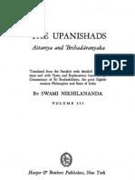 Upanishads Volume III, Aitareya and Brihadaranyaka by Swami Nikhilananda