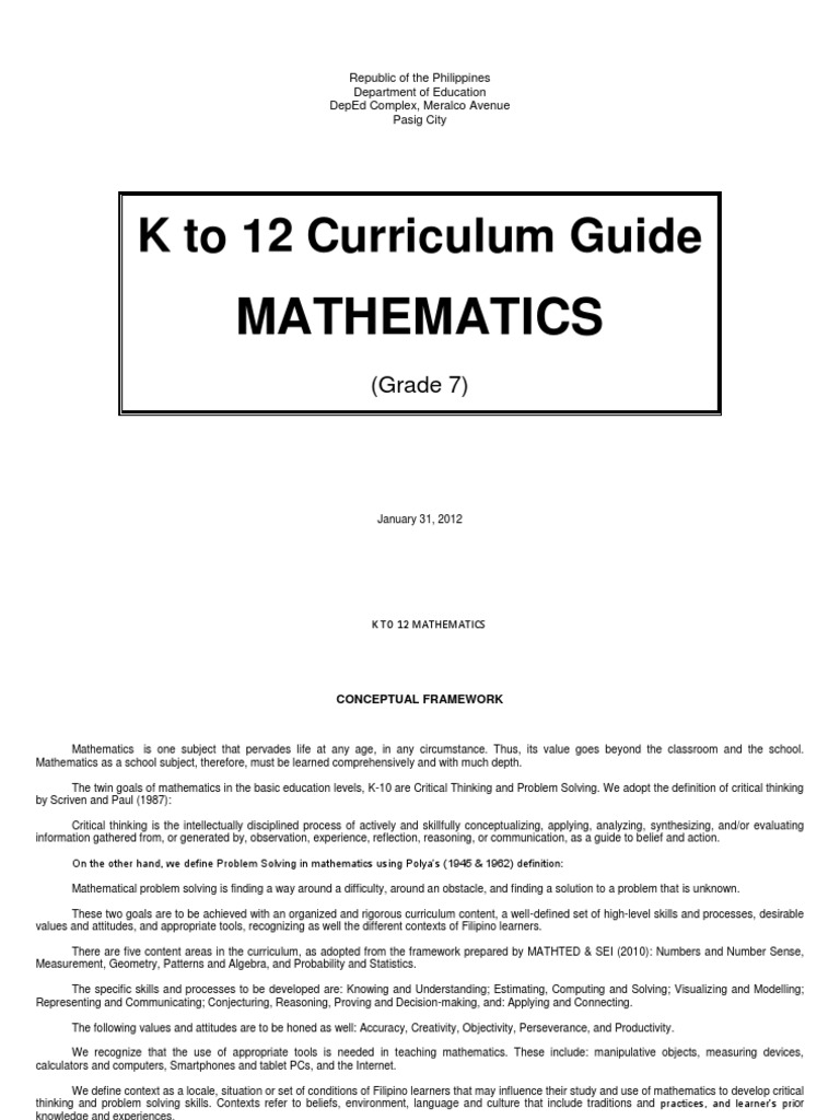 MATHEMATIC - K to 12 Curriculum Guide - Grade 7 | Polynomial ...