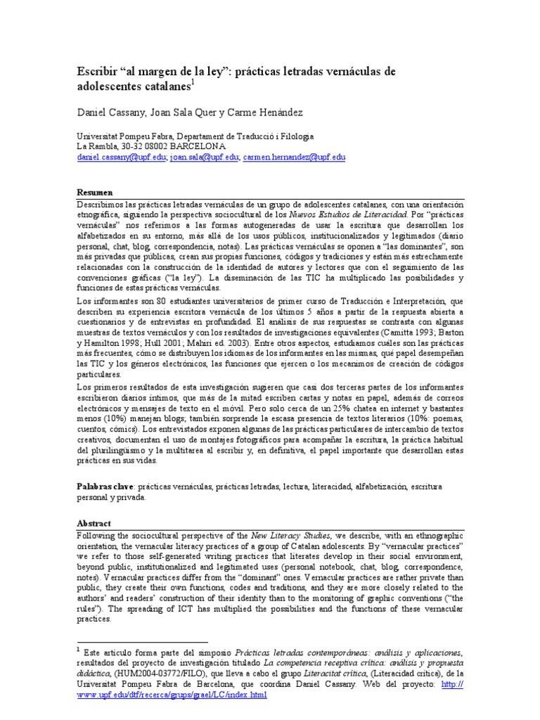 Escribir Al Margen de La Ley Practicas Letradas Vernaculas de ...