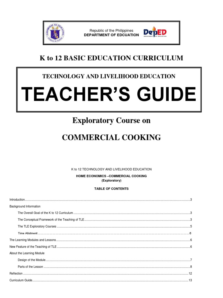 k to 12 Commercial Cooking Techer\'s Guide | Occupational Safety And ...