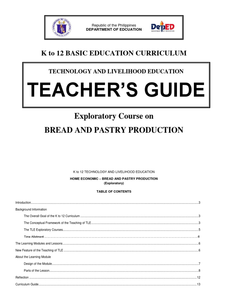 k to 12 Bread and Pastry Teacher\'s Guide | Occupational Safety And ...