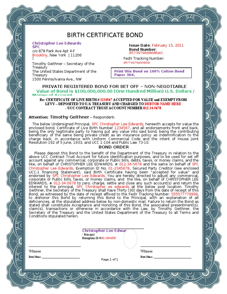 A1 Blue Border - Birth Certificate Bond | Uniform Commercial Code ...