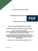 Especificaciones Generales y Técnicas de Obra