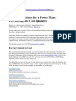 Basic Calculations for a Power Plant