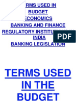 Glossary of Terms Used in the Budget & Economics for Bank PO