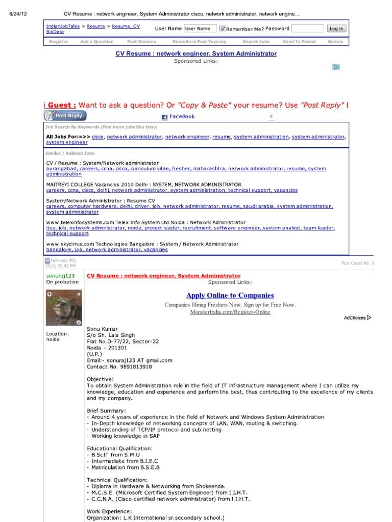 print cv resume _ network engineer system administrator cisco network administrator network engineer resume system administration - Resume For Network Engineer