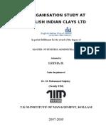 ORGANISATION STUDY AT ENGLISH INDIAN CLAYS LTD