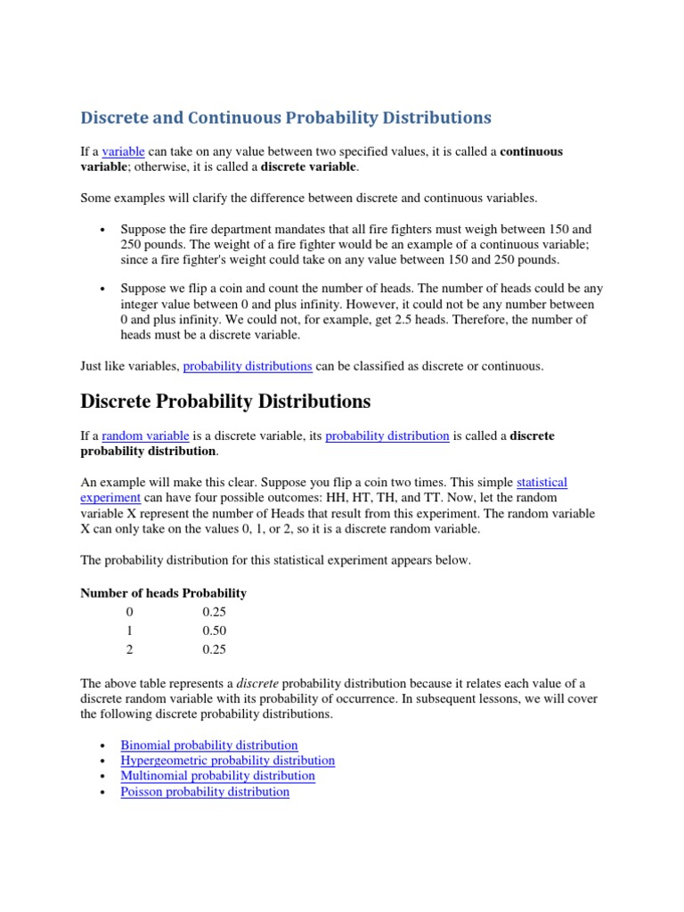 Discrete And Continuous Probability Distributions Probability