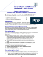 Admissions Policy for St Mary's and St Thomas's 13-14