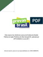 Prova Objetiva Analista de Gestao Publica Prefeitura de Sao Goncalo Rj 2011 Uff Coseac