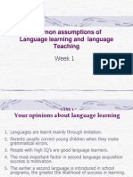 common assumptions of Language learning and  language Teaching
