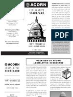ACORN Legislative Scorecard, 109th Congress, October 2006