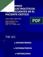 Trastornos Hidroelectroliticos Mas Frecuentes en El Paciente Critico