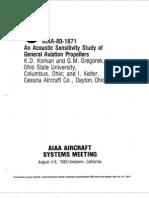 Korkan Et Al - 1980 - Acoustic Sensitivity Gen Aviation Props