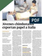 Jovenes de Chimbote exportan papel a Italia