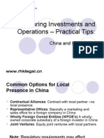 Structuring Investments and Operations Into China-HKInvest2008