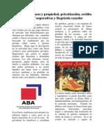 Regulación, bancos y propiedad, privatización, crédito público, Cooperativas y Bagrícola cazador