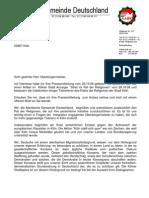 Brief vom Generalskretear Toprak an OB Schramma (Rat der Religionen)
