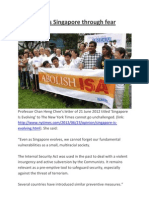 PAP governs Singapore through fear
