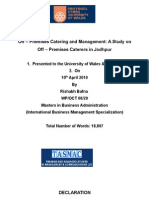 Off – Premises Catering and Management A Study on Off – Premises Caterers