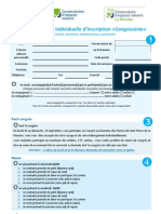 FICHE INSCRIPTION INDIVIDUELLE CONGRESSISTE